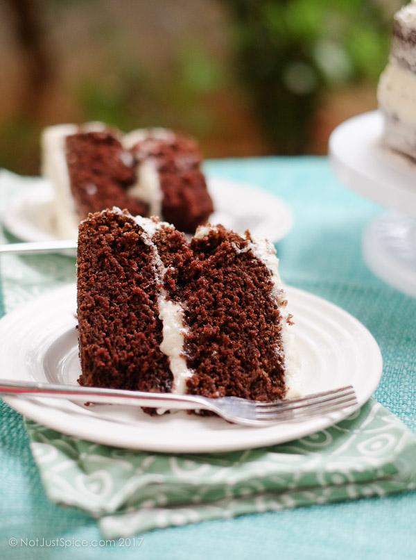 Super Moist Chocolate Cake on notjustspice.com