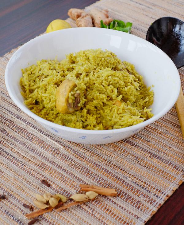Chicken Green Pulao on notjustspice.com