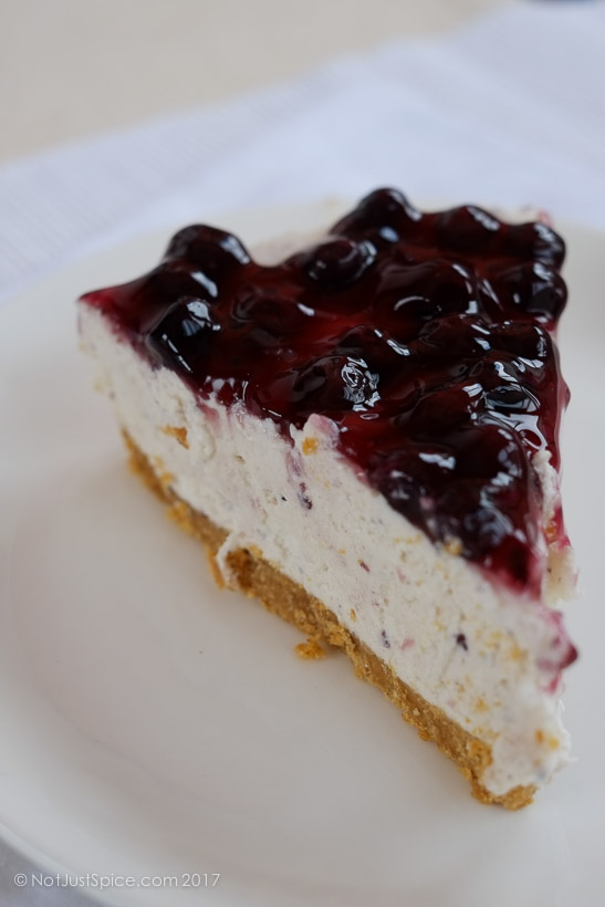 The Brilliant No-bake blueberry cheesecake on notjustspice.com