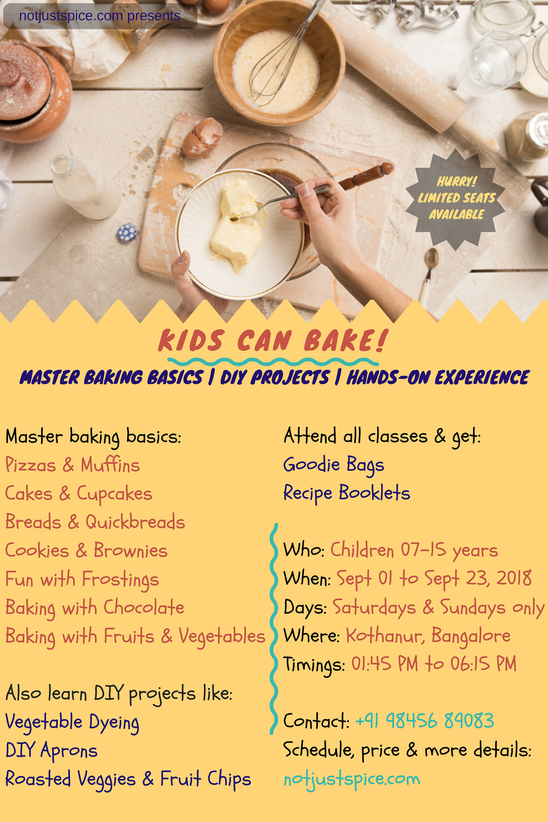 Kids Can Bake! Baking Classes for Kids by notjustspice.com
